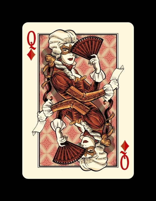 Bicycle-Venexiana-Playing-Cards-Queen-of-Diamonds