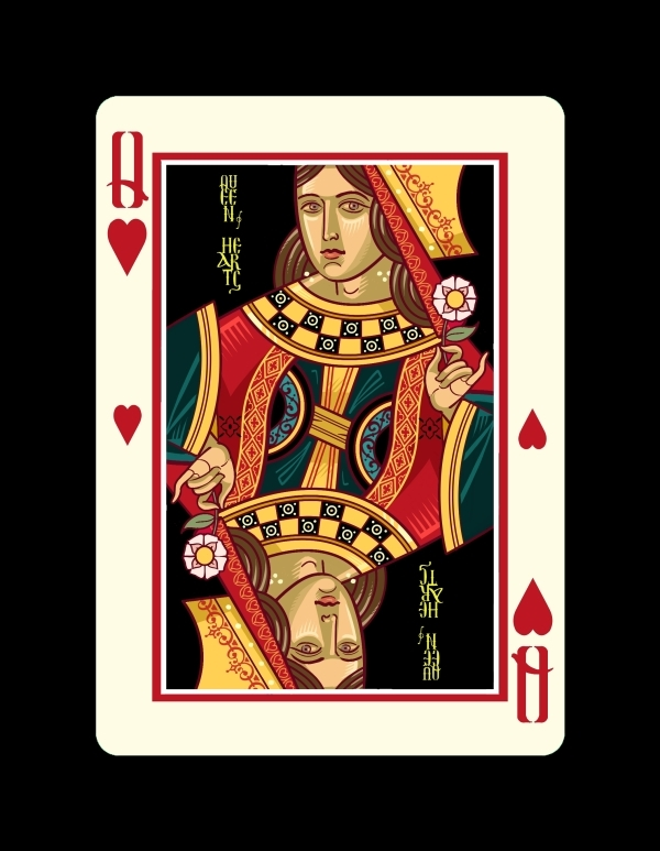 Icons-Playing-Cards-by-Lotrek-Imperial-Edition-Queen-of-Hearts