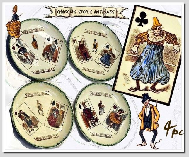 Antique-French-Luncheon-Plate-Set-with-Playing-Card-Themes