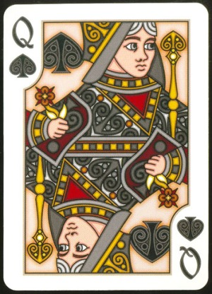 Pippoglyph-Playing-Cards-by-BentCastle-Workshops-Queen-of-Spades