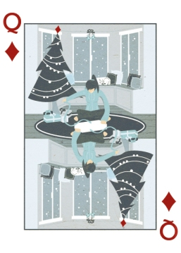 Royal-Seasons-Playing-Cards-Diamonds-Winter-Queen-of-Diamonds