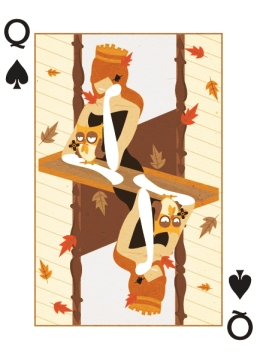 Royal-Seasons-Playing-Cards-Spades-Fall-Queen-of-Spades