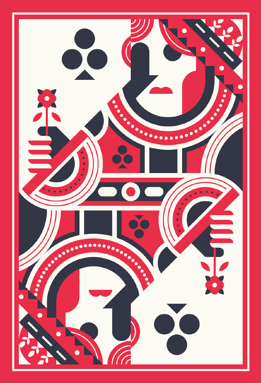 Playing Card Art: The Queen of Clubs by Justin Mezzell ...