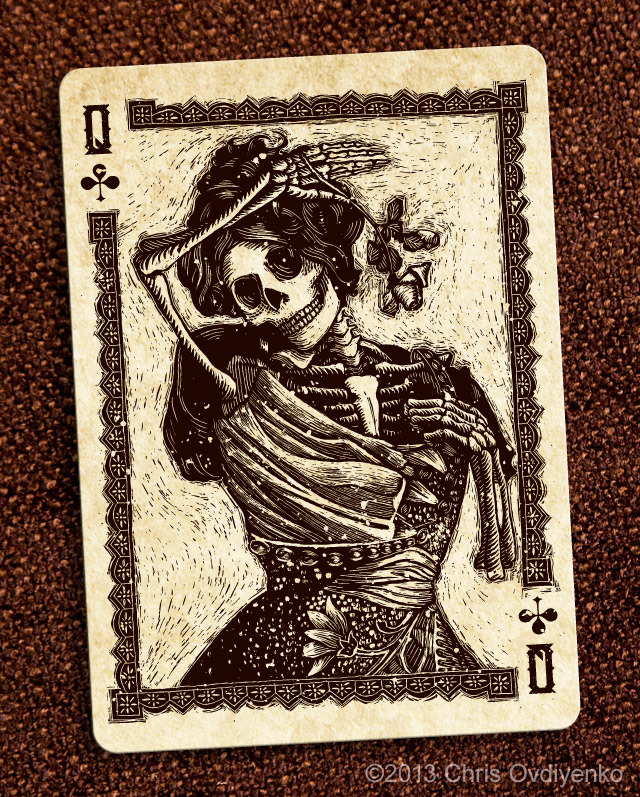 Bicycle_Calaveras_Playing_Cards_The_Queen_of_Clubs