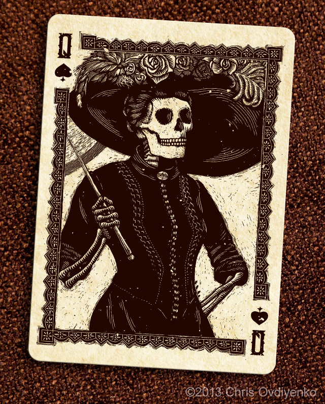 Bicycle_Calaveras_Playing_Cards_The_Queen_of_Spades