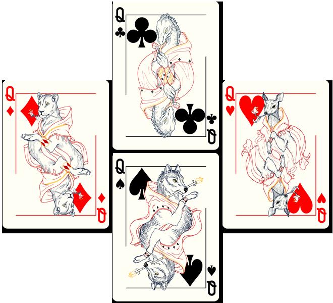 4 queens deck of cards