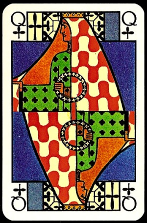 Jugendstil_Art_Nouveau_Playing_Cards_The_Queen_of_Clubs