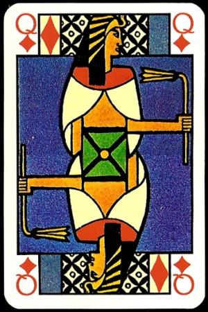 Jugendstil_Art_Nouveau_Playing_Cards_The_Queen_of_Diamonds