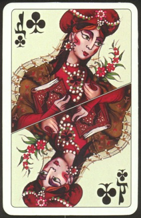 Kashmir_Playing_Cards_Queen_of_Clubs