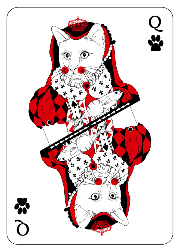 Cats_Playing_Cards_by_Katarzyna_Kalder_Queen