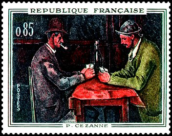 stamp-Cezanne-france-1961-Card-Players