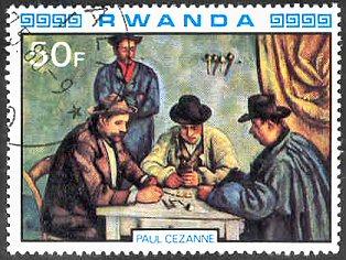 stamp-cezanne-rwanda-1980-Card-Players-2