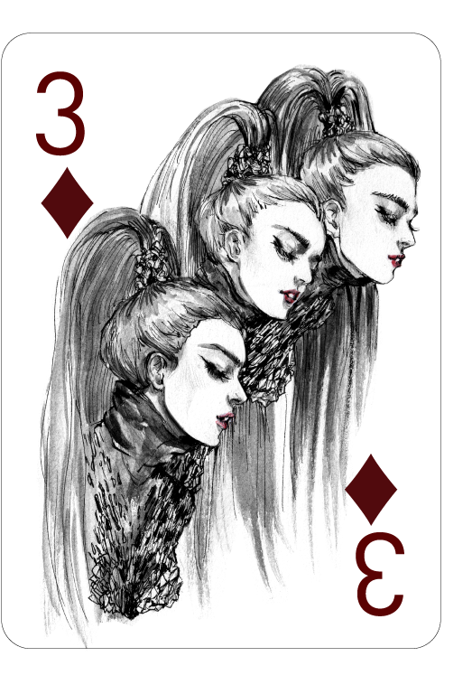 Decked_Out_Fashion_Playing_Cards_by_Connie_Lim_Three_of_Diamonds