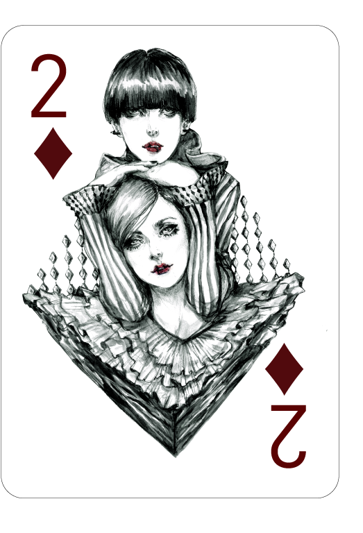 Decked_Out_Fashion_Playing_Cards_by_Connie_Lim_Two_of_Diamonds