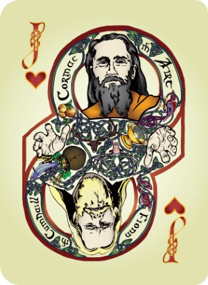 Bicycle-Celtic-Myth-Playing-Cards-by-James-Acken-Jack-of-Hearts