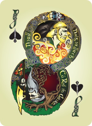 Bicycle-Celtic-Myth-Playing-Cards-by-James-Acken-Jack-of-Spades