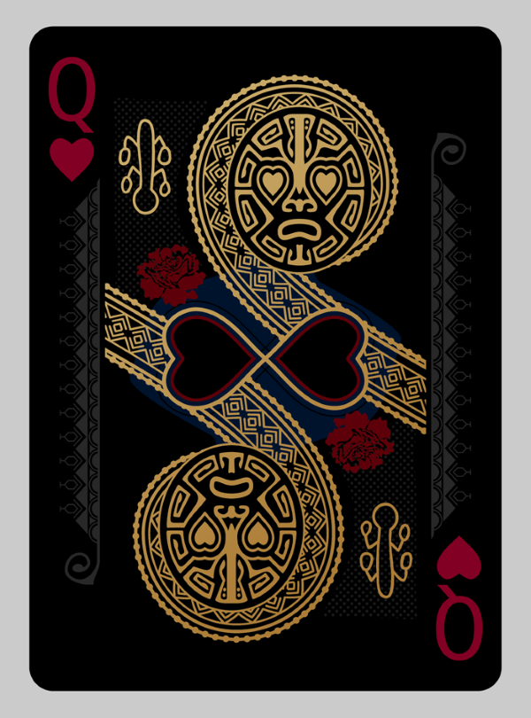Bicycle-RongoRongo-Deck-Queen-of-Hearts-Black