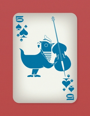 Jazzy-Birds-Playing-Cards-by-Paul-Bronaugh-Five-of-Spades