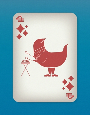 Jazzy-Birds-Playing-Cards-by-Paul-Bronaugh-Four-of-Diamonds