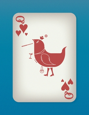 Jazzy-Birds-Playing-Cards-by-Paul-Bronaugh-Queen-of-Hearts