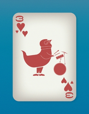 Jazzy-Birds-Playing-Cards-by-Paul-Bronaugh-Three-of-Hearts