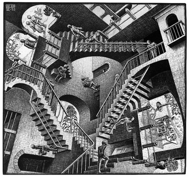 Relativity-by-M-C-Escher-1953