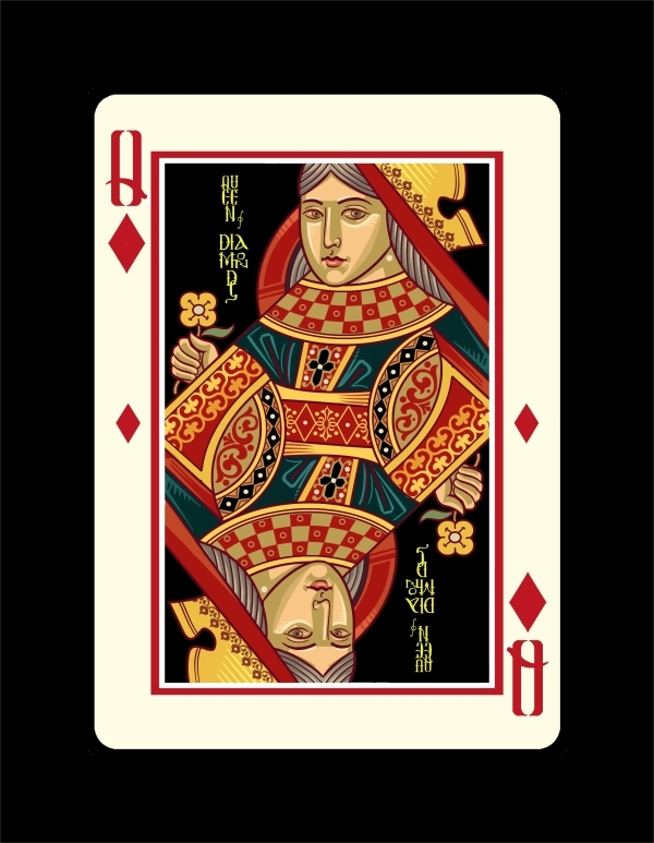 Icons-Playing-Cards-by-Lotrek-Imperial-Edition-Queen-of-Diamonds