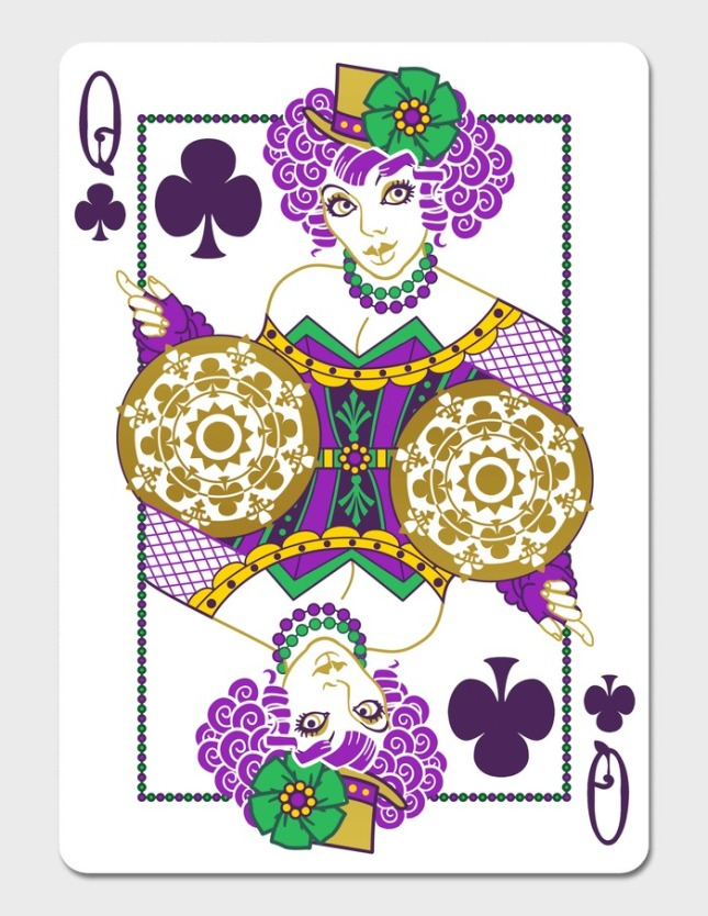 Mardi-Gras-Playing-Cards-by-Dave-Edgerly-Queen-of-Clubs