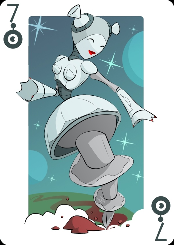 Playing-Cards-by-Mike-Wilcox-Seven-of-Robots