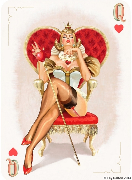 Pin-Up-Playing-Cards-by-Fay-Dalton-Queen-of-Hearts