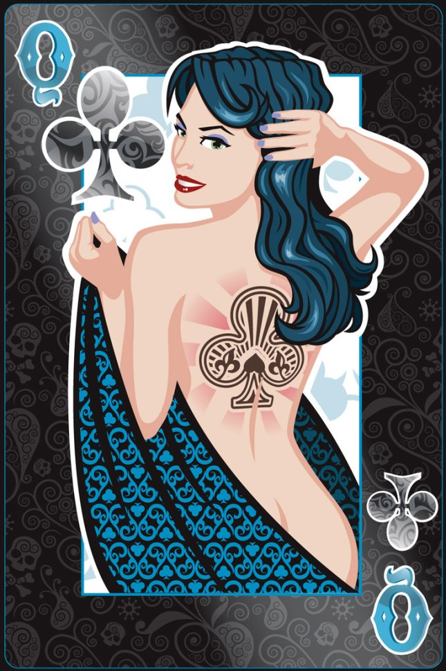 Pin-Up-Playing-Cards-by-Jeff-Chapman-Queen-of-Clubs
