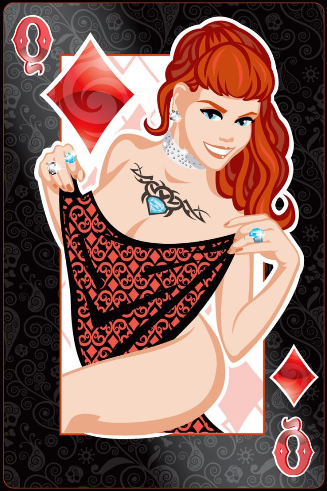 Pin-Up-Playing-Cards-by-Jeff-Chapman-Queen-of-Diamonds