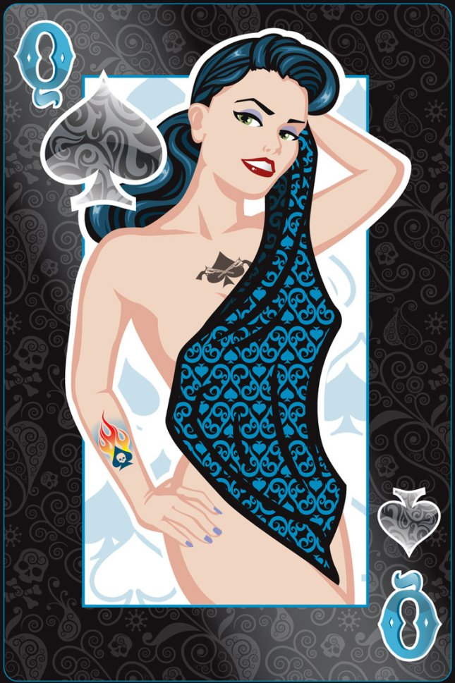 Pin-Up-Playing-Cards-by-Jeff-Chapman-Queen-of-Spades
