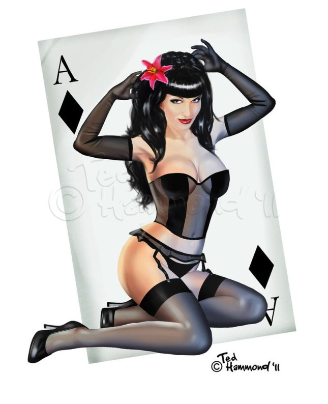 Pin-Up-Playing-Cards-by-Ted-Hammond-Ace-of-Diamonds
